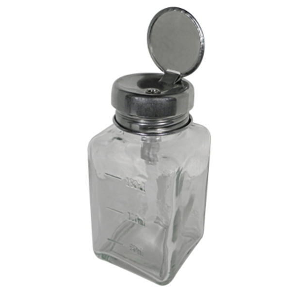 Clear Glass Pump Dispenser Bottle 6 oz. 180 mL. (DL-C334)