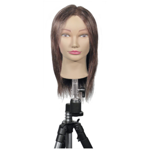 "Maggie Mannequin 100% Dark Brown Human Hair - 12"" Long in Back (MQN-2)"
