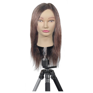 "Deluxe Maggie Mannequin 100% Dark Brown Human Hair - 20"" Long in Back (MQN-3)"