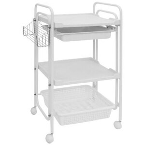 The Versatila Esthetician Trolley - White 2 Shelves + 1 Drawer + 1 Large Bin + 1 Side Bin (XY-568-102-WE)