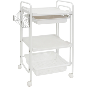 The Versatila Esthetician Trolley - Brown 2 Shelves + 1 Drawer + 1 Large Bin + 1 Side Bin (XY-568-102-BN)