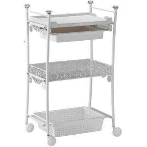 The Pietra Esthetician Trolley - White 2 Shelves + 1 Drawer + 1 Bin (XY-568-106-WE)