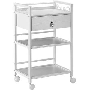 The Ashley Wooden Esthetician Trolley - White 3 Shelves + 1 Drawer (XY-568-112-WE)