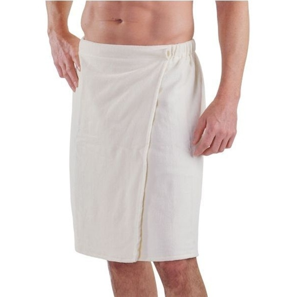 Men's Velour Wrap with Snap White