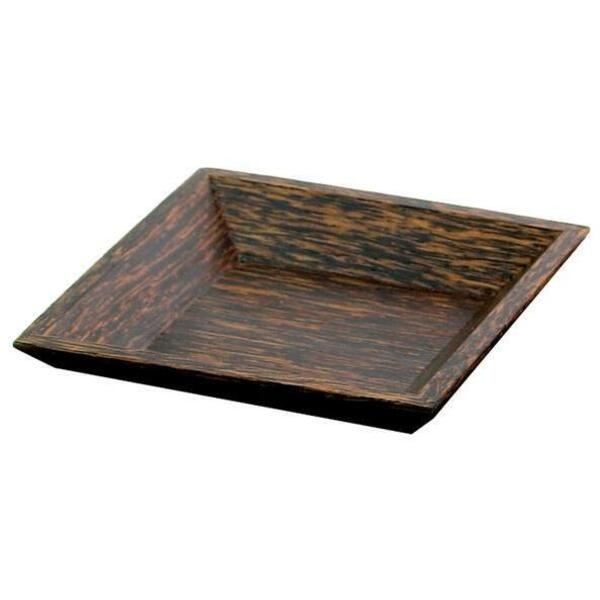 "Square Palm Wood Plate / 4.5"" X 4.5"" (C8016)"