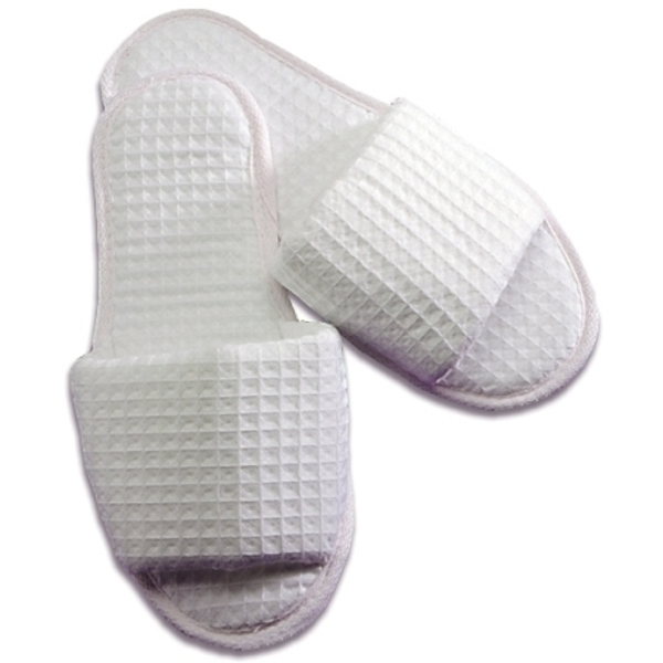 Ladies' Waffle Weave Slippers / White (C8981)