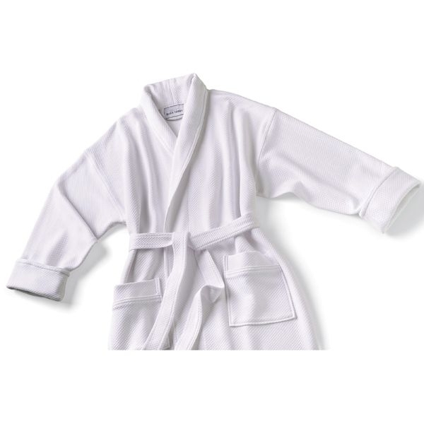 Knit Waffle Shawl Collar Robe White 2XL (C4594)