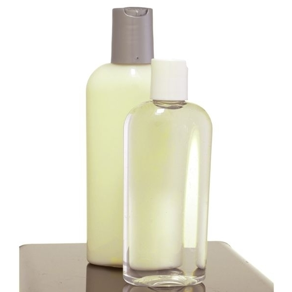 4 oz Clear Oval Bottle with White Disc Top (C8024T)