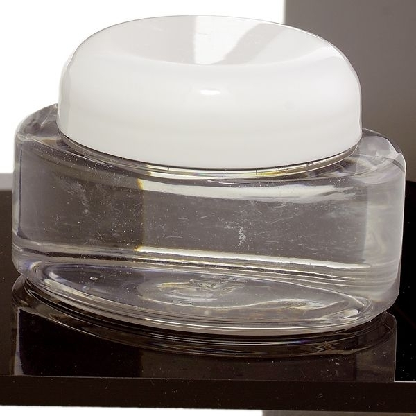 4 oz Clear Oval Jar with White Lid (C8026T)