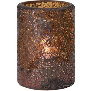Hollowick Flameless Rechargeable LED Candle Lighting - Crackle Votive Glass Lamp Gold