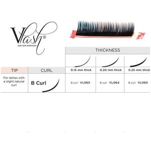 Vlash B Curl Silk Tray Lashes Mixed Lengths 9 mm - 13mm Long Choose from .15 - .25 Thick