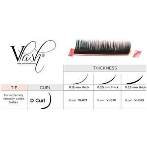 Vlash D Curl Silk Tray Lashes Mixed Lengths 9 mm - 13mm Long Choose from .15 - .25 Thick