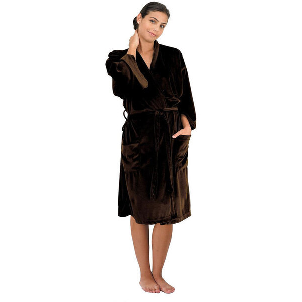 "Canyon Rose Cloud 9 Microplush Spa Robe - 42"" Long - One Size Fits Most Chocolate"