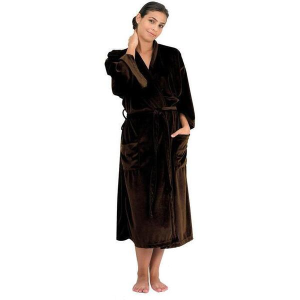 "Canyon Rose Cloud 9 Microplush Spa Robe - 48"" Long - One Size Fits Most Chocolate"