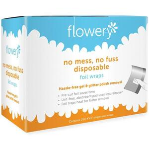 Flowery Glitter & Gel Remover Foil Wraps 250 Count