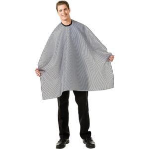 "Betty Dain Classic Seersucker Barber Cape - Black with White Stripes 45""W x 60""L"