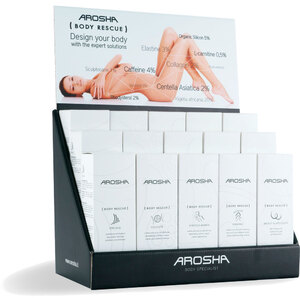 Arosha BODY RESCUE - Retail Display - 3 Full Lines (3) PEELING Body Rescue + (3) CELLULITE Body Rescue + (3) STRETCH MARKS Body Rescue + (3) FIRMING Body Rescue + (3) BREAST & DÉCOLLET&Eacute