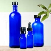 Glass Bottle With Cap Cobalt Blue 12 oz. (256 000