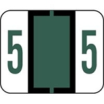 Label '5' Dark Green TabSmead Bccrn Match 500Pk