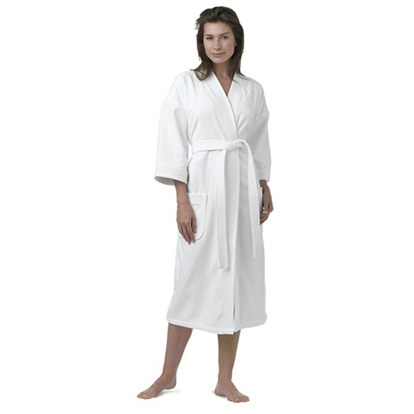 "Luxury Hotel Velour Kimono Robe White 48""L and 59"" Sweep (348 0041)"