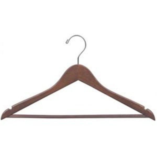 Walnut Hanger With Pants Bar And Chrome Accents (348 0051)