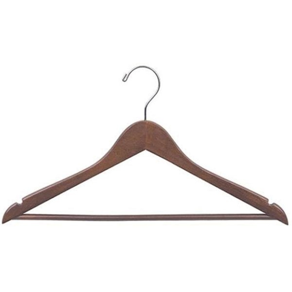 Walnut Hanger With Pants Bar And Chrome Accents 5 Pack (348 0056)