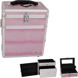 Pink Snake Skin Textured Printing Jewelry and Makeup Case With Mirror (C3010SNPK)