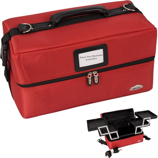 Red 2-Tiers Accordion Trays Soft-Sided Professional Makeup Case (C3011NLRD)