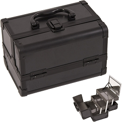 All Black 2-Tiers Extendable Trays Cosmetic Makeup Train Case With Mirror (M1001PPAB)