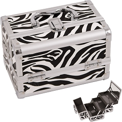 White Zebra Textured Printing 2-Tiers Extendable Trays Cosmetic Makeup Train Case With Mirror (M1001ZBWH)