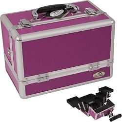 3-Tiers Expandable Trays Purple Makeup Case (C0001PPPL)