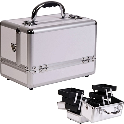 3-Tiers Expandable Trays White Makeup Case (C0001PPWH)