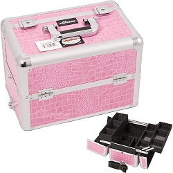 Pink Interchangeable Easy Slide & Extendable Tray Crocodile Textured Printing Professional Aluminum Cosmetic Makeup Case With Dividers (E3302CRPK)