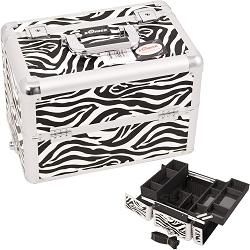 White Interchangeable Easy Slide & Extendable Tray Zebra Textured Printing Professional Aluminum Cosmetic Makeup Case With Dividers (E3302ZBWH)