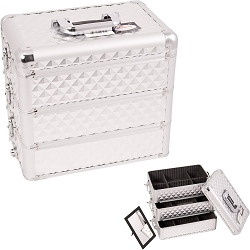 Silver Interchangeable Stackable Tray Diamond Pattern Professional Aluminum Cosmetic Makeup Case With Dividers (E3303DMSL)