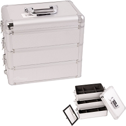 Silver Interchangeable Stackable Tray Dot Pattern Professional Aluminum Cosmetic Makeup Case With Dividers (E3303DTSL)