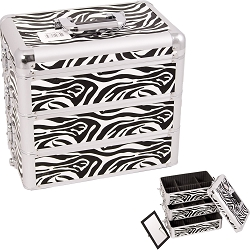 White Interchangeable Stackable Tray Zebra Textured Printing Professional Aluminum Cosmetic Makeup Case With Dividers (E3303ZBWH)
