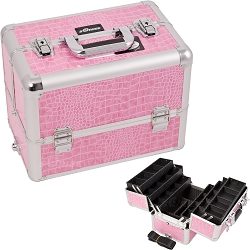 Pink Interchangeable 6-Tiers Extendable Tray Crocodile Textured Printing Professional Aluminum Cosmetic Makeup Case With Dividers (E3304CRPK)