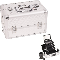 Silver Interchangeable 3-Tiers Extendable Tray Diamond Pattern Professional Aluminum Cosmetic Makeup Case With Mirror (E3305DMSL)