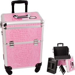 Pink Interchangeable 4-Wheels Crocodile Textured Printing Professional Rolling Aluminum Cosmetic Makeup Case With Removable Tray And Dividers (E6301CRPK)