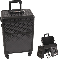 All Black Interchangeable 4-Wheels Diamond Pattern Professional Rolling Aluminum Cosmetic Makeup Case With Removable Tray And Dividers (E6301DMAB)