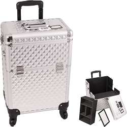 Silver Interchangeable 4-Wheels Diamond Pattern Professional Rolling Aluminum Cosmetic Makeup Case With Removable Tray And Dividers (E6301DMSL)