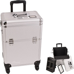 Silver Interchangeable 4-Wheels Dot Pattern Professional Rolling Aluminum Cosmetic Makeup Case With Removable Tray And Dividers (E6301DTSL)