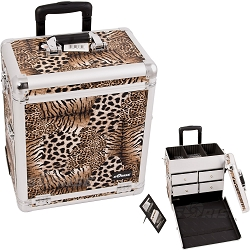 Brown Interchangeable Leopard Textured Printing Professional Rolling Aluminum Cosmetic Makeup Case With Split Drawers (E6302LPBR)