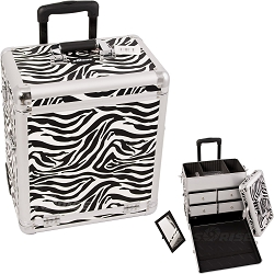 White Interchangeable Zebra Textured Printing Professional Rolling Aluminum Cosmetic Makeup Case With Split Drawers (E6302ZBWH)
