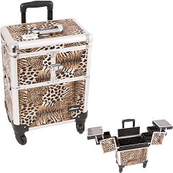 Brown Interchangeable 3-Tiers Accordion Trays Leopard Textured Printing Professional Rolling Aluminum Cosmetic Makeup Case (E6304LPBR)
