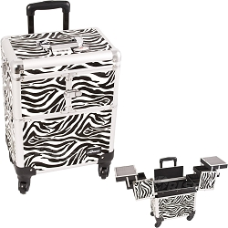 White Interchangeable 3-Tiers Accordion Trays Zebra Textured Printing Professional Rolling Aluminum Cosmetic Makeup Case (E6304ZBWH)