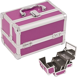 Purple 2-Tiers Extendable Trays Cosmetic Makeup Train Case With Mirror (M1001PPPL)