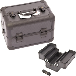 2-Tiers All Black Dot Pattern Makeup Train Case (C0002DTAB)