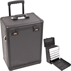 Black Dot Pattern Professional Rolling Makeup Case With Drawers And Numlock (C6000DTAB)
